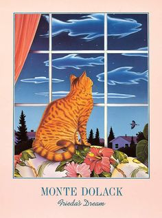 This poster, which shows Monte's penchant for surreal imagery, features his beloved cat, Frieda gazing out a window, dreaming of giant fish-shaped clouds. A great blue heron flies by, as well. With br