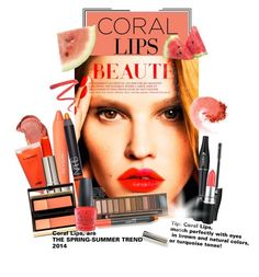 """""""Trend:CORAL LIPS"""" by giogiota ❤ liked on Polyvore featuring beauty, Lancôme, Seed Design, Nico, Urban Decay, MAC Cosmetics, Kevyn Aucoin, OPI, Ellis Faas and NARS Cosmetics"""