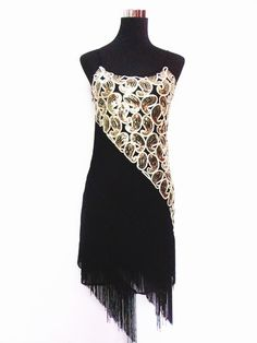 Vintage Themed Party Flapper Fringe Clubwear Great Gatsby Sequined Strap Latin Dance Mini Dress Big Size