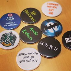 A bunch of movie inspired button badges. Grab these & many more at