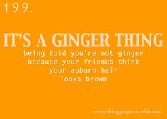 """a ginger thing <--  YES.  A thousand times yes!  Thank you!  I happens so often too.  *inside*  """"No, your hair's not red, it's brown.""""  *goes out in direct sunlight*  """"Oh, never mind.""""  ;)  Go gingers!"""