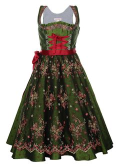 schmittundschäfer Love the colors... sophisticated green with a punch of vibrant red.... and then to top it off with embroidered lace! Change the neckline to low sweetheart and it is the dress of my dreams!