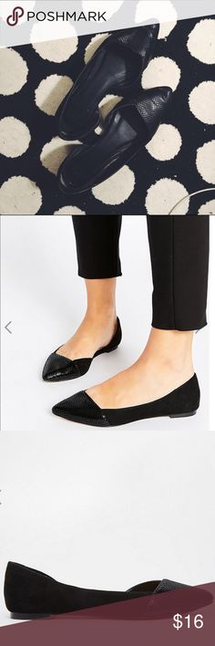 {Asos} • flat pointed ballet flats As seen, the Asos Look Back Wide Fit Pointed Ballet flats in size U.K. 6 which is a US 8 • ❌ no trades or lowballing ❌ • offers considered ☑️ prices will not be discussed in the comments • bundles of 2+ receive 30% off 🎉 • Use code NQAXM to get $5 off your purchase ASOS Shoes Flats & Loafers