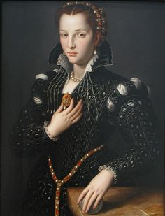 Circa1560, Lucrezia di Cosimo de' Medici by Agnolo Bronzino-I find this gown much to my liking. And the pearls!