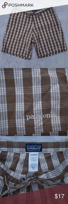 Mens Patagonia shorts Super cute brown plaid shorts from Patagonia.  Button fly with tie waist. Excellent condition. Patagonia Shorts