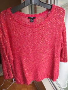 H&M Textured Women's Sweater Pink Red Gold Knit Medium 3/4 Sleeve Oversized #HM #Sweater