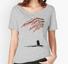 SOLD! Thank you!❤️'Sakura' Women's Relaxed Fit T-Shirt by BATKEI #redbubble #cat #猫 #cats #tshirts #clothing #Tシャツ