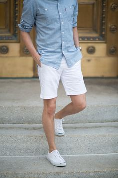 Light blue with white shorts and shoes. Great combo!