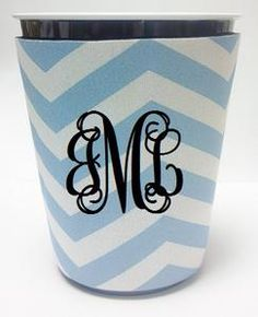 Monogram Solo Cup Koozie - Light Blue Chevron. Fun. May get 4 or 6 to keep by the pool this summer!