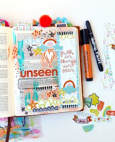 hybrid digital mixed media art journaling bible entry by Elaine Davis   Believe in Things Unseen