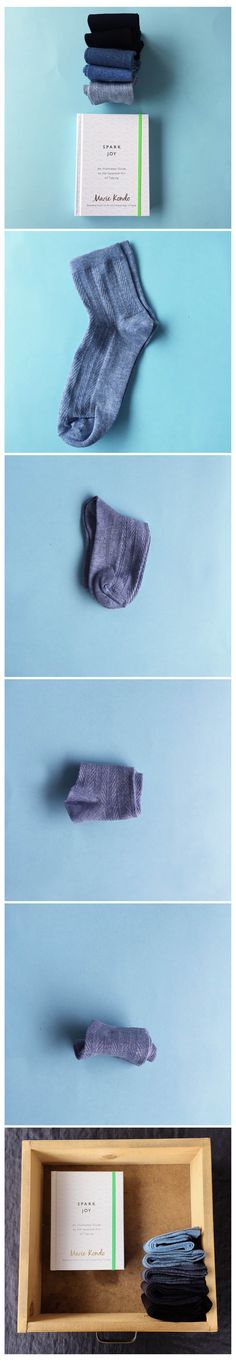 Folding socks with illustrated Spark Joy by Marie Kondo, author of The Life-Changing Magic of Tidying
