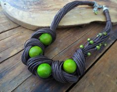Tagua Nut Necklace Linen NecklaceLime Green Tagua Lime by ReTeTeer