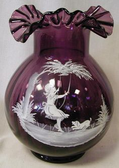 *MARY GREGORY:     Amethyst Glass, Pattern: Girl on a Swing.