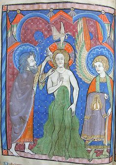the Baptism of Christ -  MS K.26, one of a sequence of 46 Biblical illustrations (c.1270-80) inserted at the front of a fourteenth-century Psalter (English)