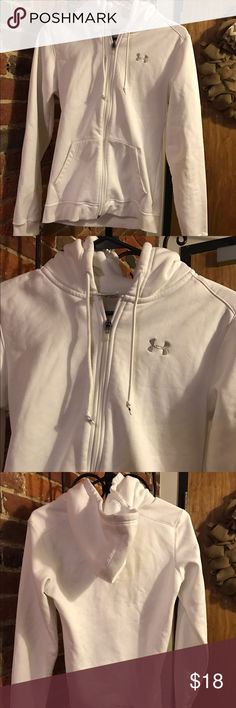 Under Armour hooded jacket Feeling sporty? This jacket is in excellent condition. It is hooded, fully zips, and has logo on breast. Very warm. Make reasonable offer. Under Armour Jackets & Coats