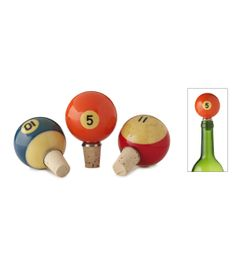 Complete your own pool hall and bar with Pool Ball Bottle Stoppers made from found pool balls. Wine Bottle Stoppers, Wine Bottle Crafts, Cork Stoppers, Bottle Openers, Recycled Gifts, Recycled Materials, Upcycled Home Decor, Repurposed, Upcycled Furniture