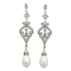 Drop Earrings with Cultured Freshwater Pearl in Sterling Silver ...