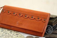Handmade vintage sweet cute orange black dark green retro leather long bifold wallet for women/lady girl gift for her