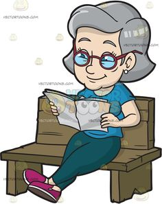 A Mature Woman Sits Down While Reading The Paper :  A woman with gray hair wearing a teal shirt blue green pants purple with white shoes red rimmed eyeglasses pearl earrings smiles as she reads a gray newsletter while sitting on a wooden bench  The post A Mature Woman Sits Down While Reading The Paper appeared first on VectorToons.com.