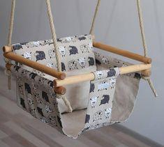 Sheep decor, First birthday gift, Nursery decor, Baby swing Nursery Crib, Nursery Decor, Nordic Style, Scandinavian Style, Baby Diy Projects, Indoor Swing, Swinging Chair, Chair Swing, Yellow Pillows