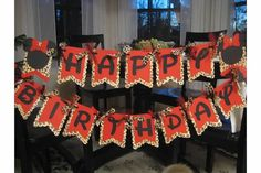 red and leopard minnie mouse birthday banner