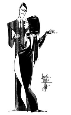 """browsethestacks: """" Gomez And Morticia by Otto Schmidt """" Morticia Addams, Gomez And Morticia, Cartoon Drawings, Cartoon Art, Art Drawings, Drawing Faces, Illustration Vector, Character Illustration, Art Illustrations"""