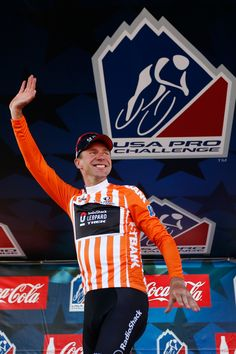 STEAMBOAT SPRINGS, CO - AUGUST 21: Jens Voigt of Germany and RadioShack Leopard Trek poses for a photo on the podium in the orange 1st Bank Most Gourageous Rider jersey after stage three of the USA Pro Cycling Challenge on August 21, 2013 in Steamboat Springs, Colorado. (Photo by Chris Graythen/Getty Images)