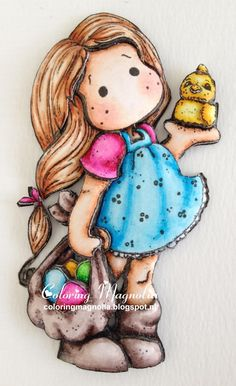 Coloring Magnolia Stamp 2013 Little Easter Collection - Tilda With Egg And Chicken - 3D Paper Piecing