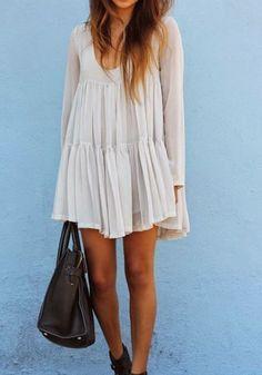 White Plain Pleated Scoop Neck Vintage Chiffon Mini Dress