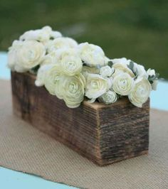White ranunculus in a rustic box.  Modern organic!