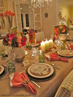 Love this tablescape with the Tuscan influence~great for the fall season. The fruit in the hurricane glassware is stunning.
