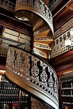 spiral staircase in the library
