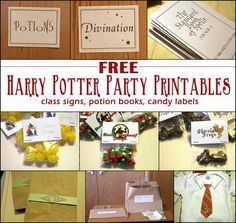 If a Harry Potter themed birthday party is in your future, Nicole Stark has created a fabulous assortment of printable signs, potion books, and candy labels. This would be an easy way to pull toget…