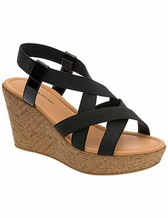 Wow-worthy wedge sandal elevates sunny Summer looks with stretchy straps for a true-to-you fit. #LaneBryant