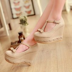 Round Toe Closed Wedges High Heel Ankle Strap Apricot PU Pumps on Chiq $17.99 : Buy Trends on CHIQ.COM http://www.chiq.com/round-toe-closed-wedges-high-heel-ankle-strap-apricot-pu-pumps