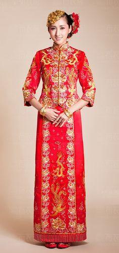 Kwa Qun Brocade Chinese Wedding Qipao 龍鳳褂中式裙褂