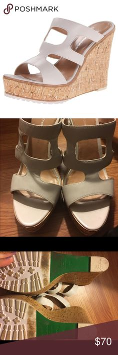🎉HP🎉Donald J Pliner Kloe White sandal wedge Host Pick Best in Shoes 4/26 Lisa for Donald J Pliner Kloe beautiful white sandal wedge. Leather upper.  Rubber sole.  Heel measures approx. 4.75 inches.  Only noticeable wear is on the sole. Donald J. Pliner Shoes Wedges