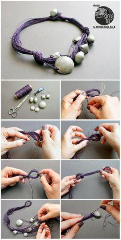 DIY Linen Asymmetrical Necklace I really like Gloria Fort's DIY... | TrueBlueMeAndYou: DIYs for Creative People | Bloglovin'