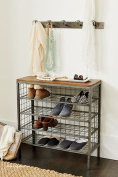 Wanting to add more storage and function to your small entryway or mudroom? Our shoe storage tower has room for 12 pairs of shoes and a stable top that makes the perfect landing zone in an entry. Shoe Storage Tower, Entryway Shoe Storage, Diy Shoe Storage, Diy Shoe Rack, Storage Design, Entryway Decor, Shoe Storage Ideas For Small Spaces, Entryway Ideas, Shoe Storage Apartment