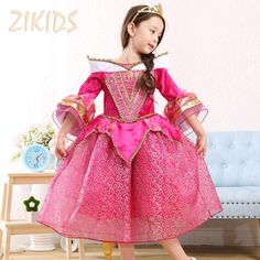 Noble Sleeping Beauty Girl Dress Cosplay Costume for Party Festival Girls Princess Aurora Dresses Kids Clothes 2016 Sale