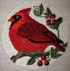 Another beautiful bird stitched by Patricia Sone. Cardinal needlepoint canvas and kit exclusively at Creative Stitches in Dallas.
