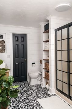Home Decorating Ideas Farmhouse Farmhouse Bathroom Makeover ORC Week 7 – REVEAL! – Joyful Derivatives Home Decorating Ideas Farmhouse Source : Farmhouse Bathroom Makeover ORC Week 7 – REVEAL! – Joyful Derivatives by Share Bathroom Doors, Bathroom Renos, Basement Bathroom, Bathroom Renovations, Small Bathroom, Home Remodeling, Shower Doors, Bathroom Ideas, Bathroom Bin