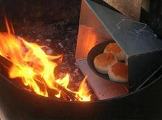 The Reflector Oven-A well-designed reflector focuses the heat evenly on the top and bottom of the pan holding your food.