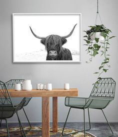 The perfect print for Scandinavian inspired interior styling - Highland Cow Print by LittleInkEmpire on Etsy