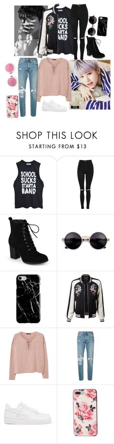 """""""Woozi VS. Jihoon"""" by kookiesantana on Polyvore featuring Topshop, Journee Collection, Recover, LE3NO, MANGO, Levi's, NIKE, Kate Spade, Christian Lacroix and kpop"""