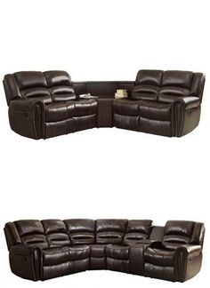 Homelegance 3 Piece Bonded Leather Sectional Reclining Nail Head Accent Sofa with 1 Cup Holder Console, Brown