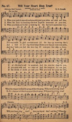Free Printable Antique Music Hymn Book Page - Will Your Heart Ring True? - KnickofTime.net