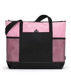 Gemline Select Zippered Tote - Royal polyester back panel of tote is black zippered main compartment front pocket with pen loop mesh water bottle pockets Packing Hospital Bag, Thing 1, Travel Tote, Bag Making, Diaper Bag, Shoulder Bag, Shoulder Straps, Rhodes, Pink