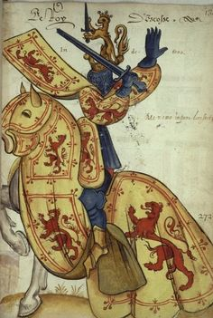 """Le Roy D'***scosze / Król """"Finlandii"""" / Armorial de l'Europe et de la Toison d'or Medieval Life, Medieval Art, Medieval Manuscript, Illuminated Manuscript, Medieval Paintings, Chivalry, Knights Templar, Dark Ages, Coat Of Arms"""