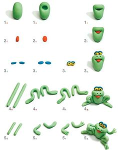 How to make a frog out of Polymer Clay Tutorial - I reckon this would go well out of fondant as a cake topper too! Polymer Clay Animals, Fimo Clay, Polymer Clay Charms, Polymer Clay Projects, Clay Crafts, Decors Pate A Sucre, Frog Cakes, Decoration Patisserie, Fondant Animals
